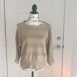 Tan Liz Claiborne sweater. Elbow length sleeve